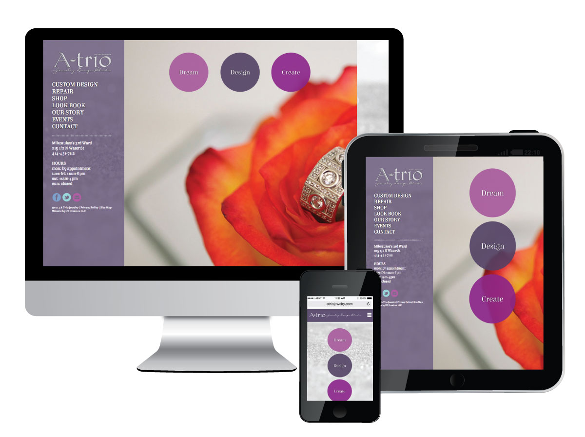 Responsive Website for ATrio Jewelry Design Studio