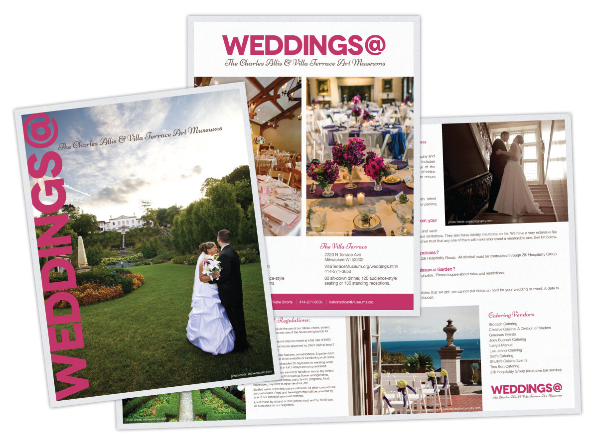 Large Wedding Brochure Design for The Charles Allis and Villa Terrace Art Museums