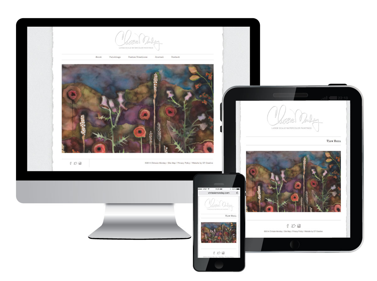 Responsive Website Design for Watercolor Artist Chrissie Monday