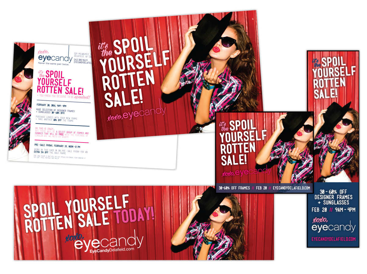 Postcard, Billboard and Online Ad Design for Eyecandy Spoil Yourself Rotten Sale
