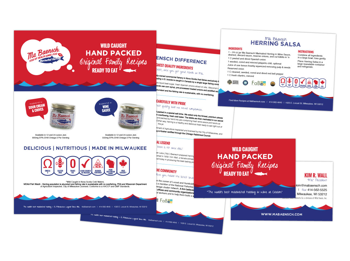 Branding, Sell Sheet, Business Card, Recipe Card Design for MaBaensch Marinated Herring