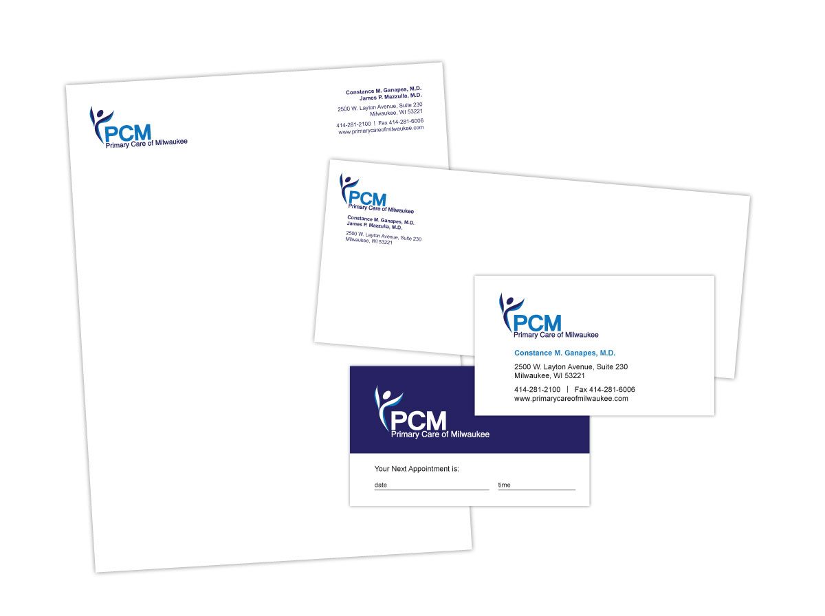 Branding, Logo, Letterhead, Envelope and Business Card Design for Primary Care of Milwaukee