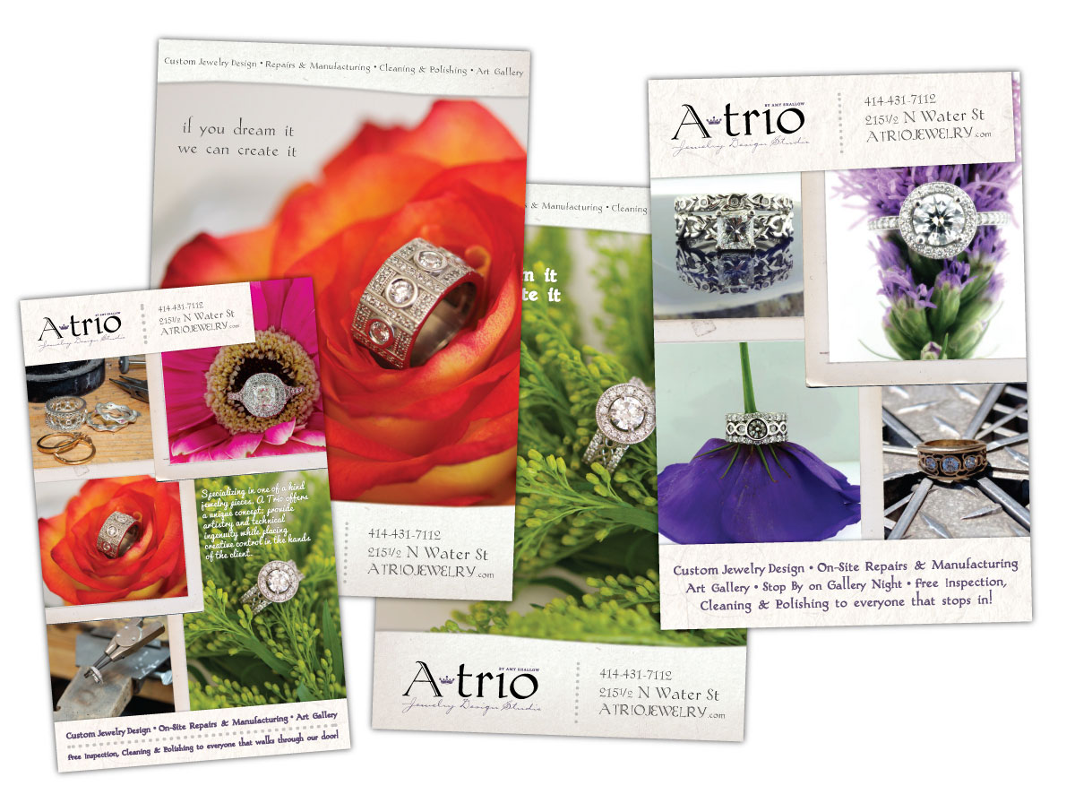 Print Ads for ATrio Jewelry Design Studio