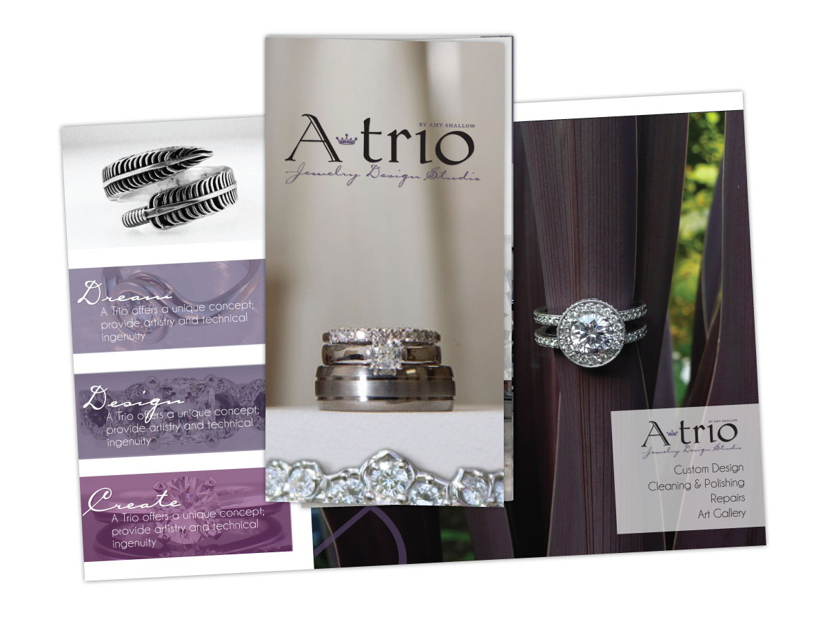 Tri-Fold Brochure for ATrio Jewelry Design Studio