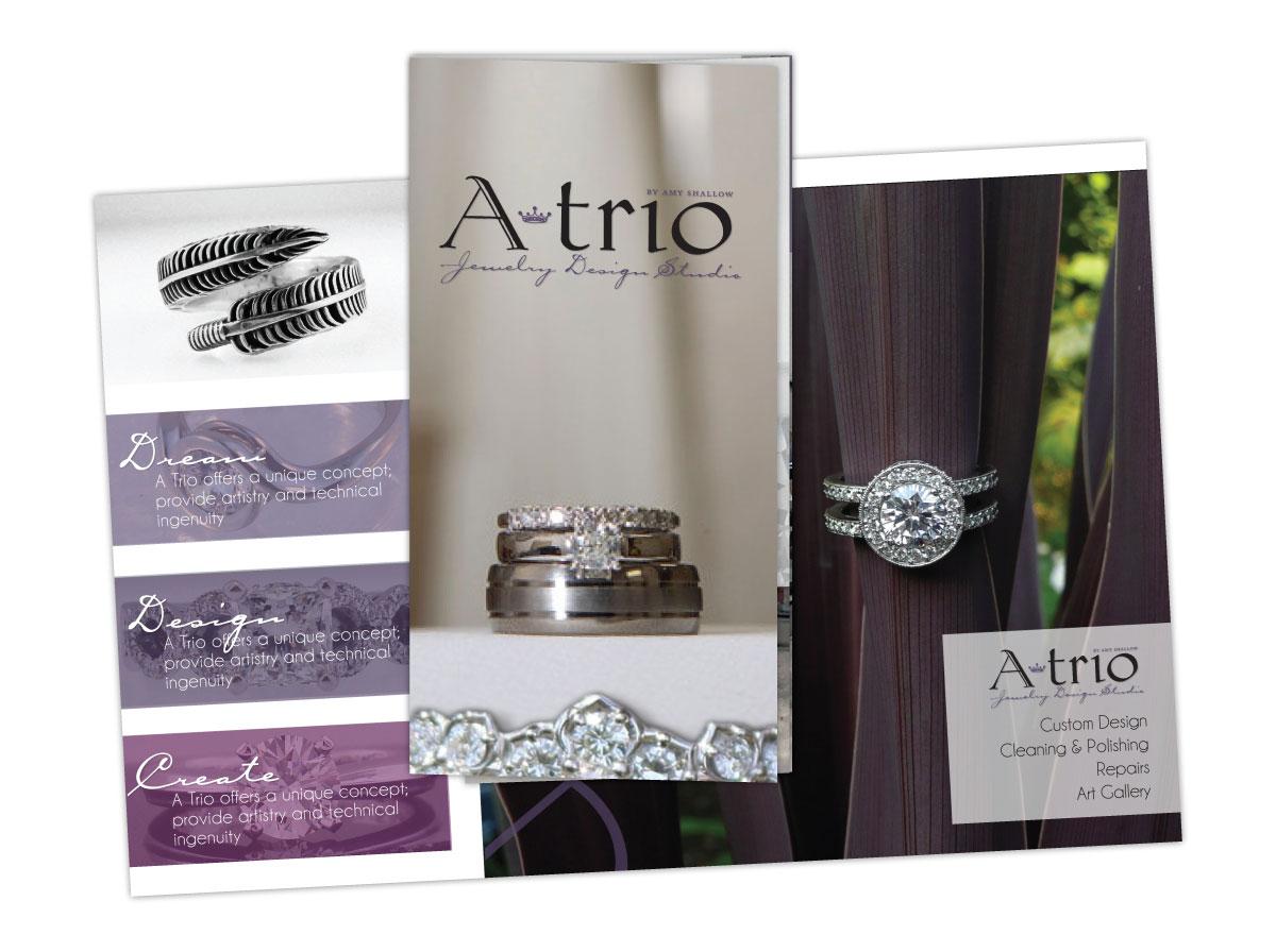 Tri-Fold Brochure for ATrio Jewelry Design Studio