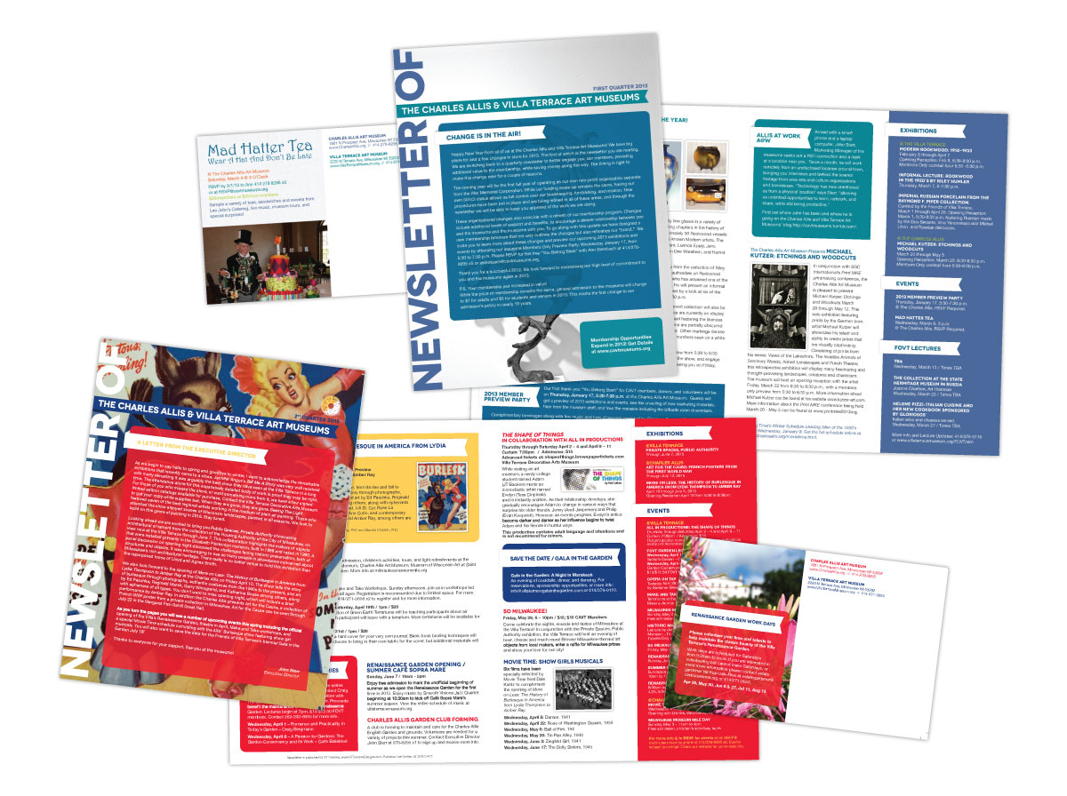 Newsletter Mailer for The Charles Allis and Villa Terrace Art Museums