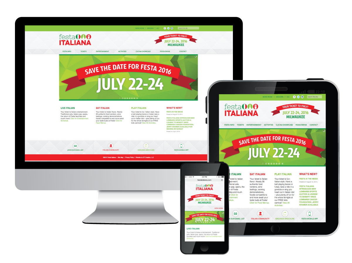 Responsive Website Design for Festa Italiana
