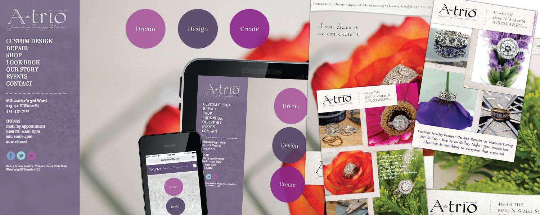 Responsive Website, Branding, Print Advertisments, Brochure and Email Marketing for ATrio Jewelry Design Studio