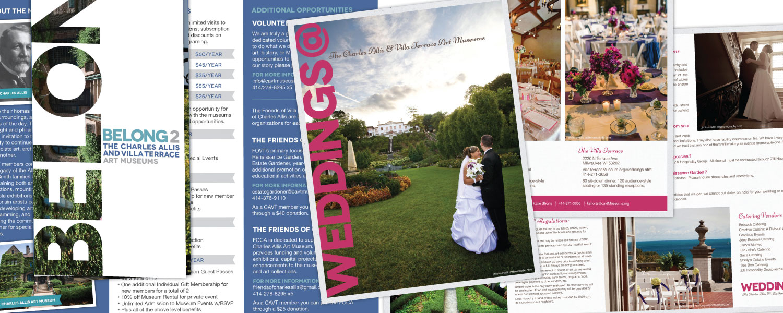 Brochure, Newsletter Mailer, Membership Card, Invite Design for The Charles Allis and Villa Terrace Art Museums