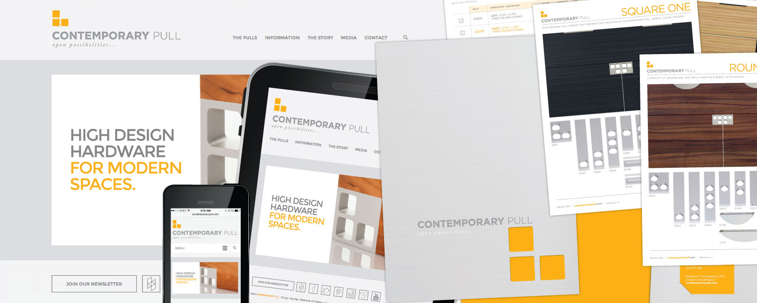 Responsive Website, Gate-fold brochure, Die cut foler and Sell sheets for Contemporary Pull