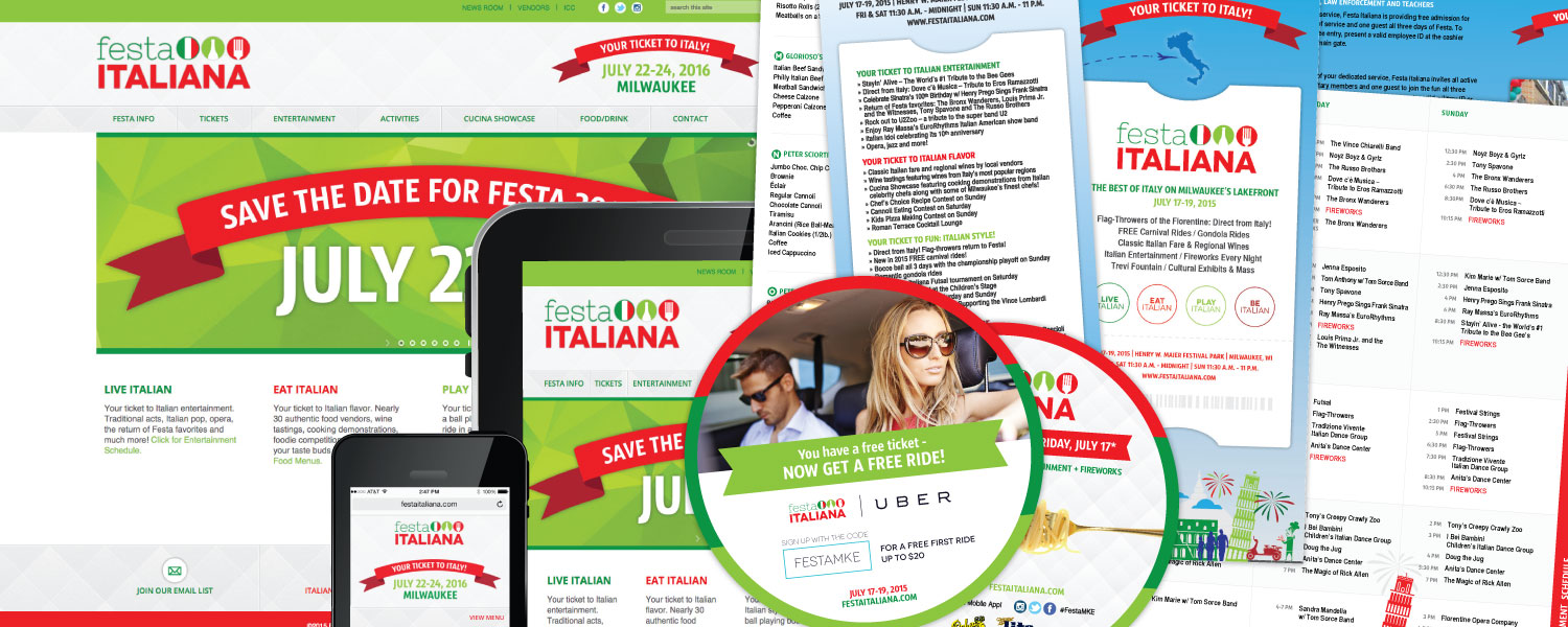 Responsive Website, Logo, Print Ad, Online Advertisment, Marketing Materials for Festa Italiana Milwaukee