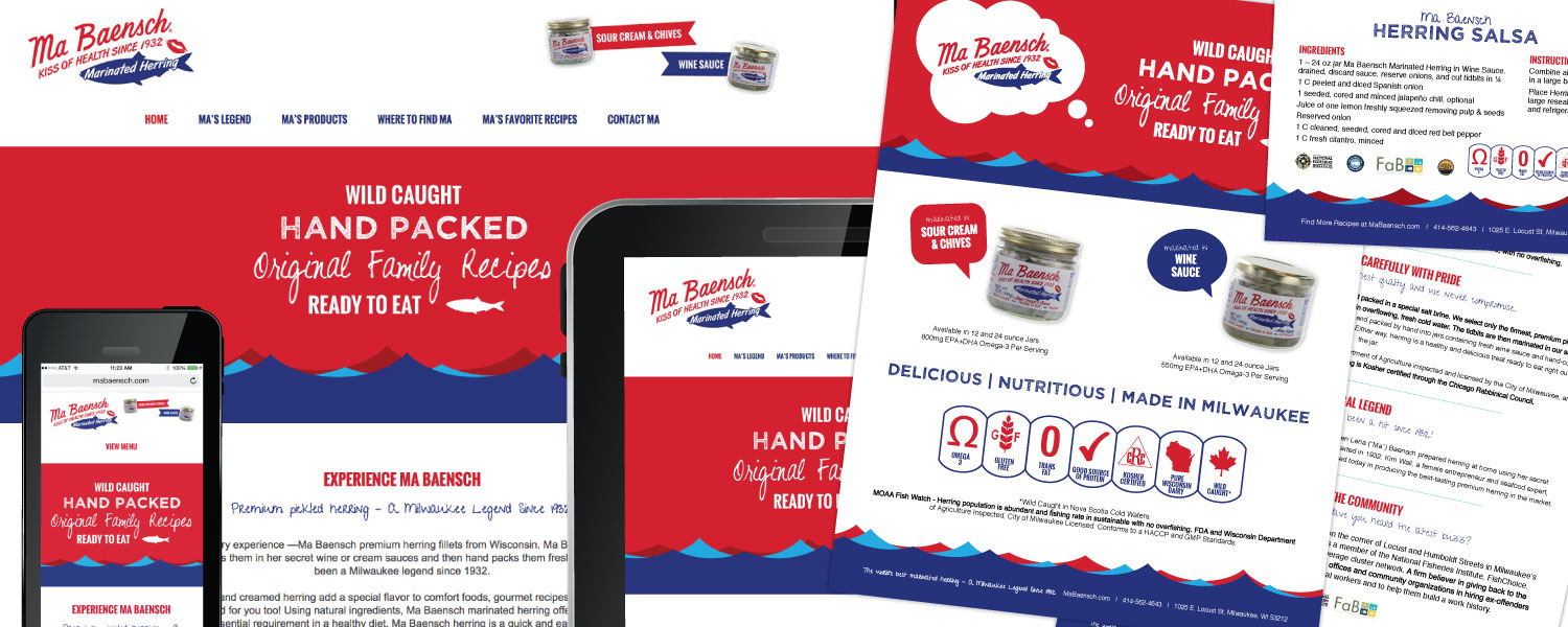 Responsive Website, Branding, Sell Sheet, Business Card, Recipe Card Design for MaBaensch Marinated Herring