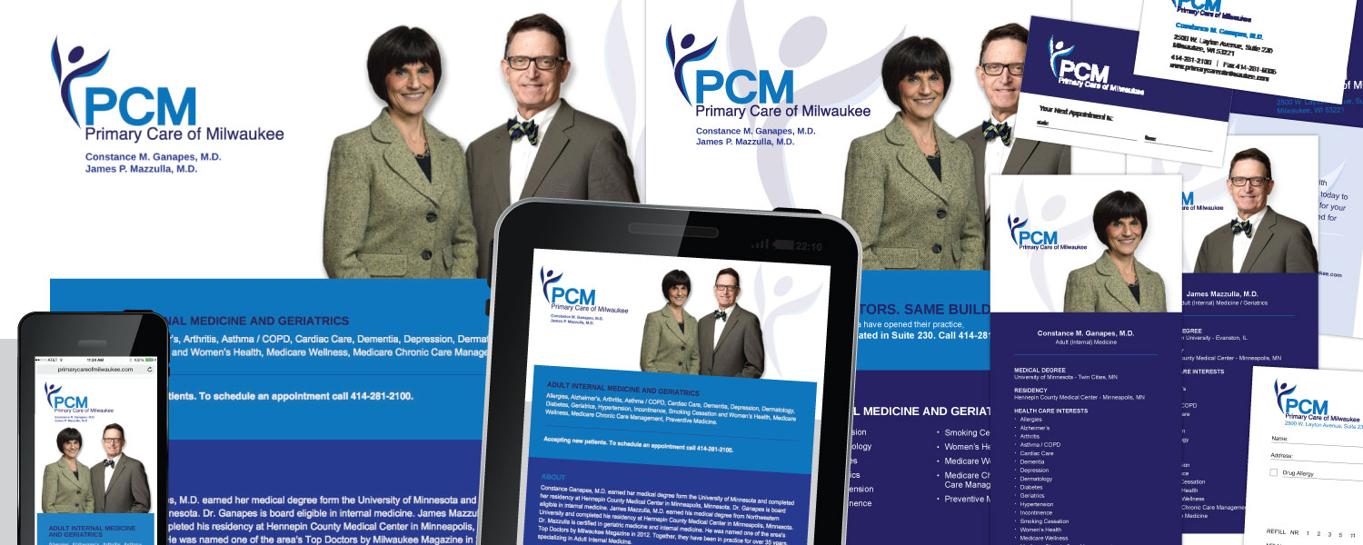 Responsive One Page Website, Branding, Marketing Materials Design for Primary Care of Milwaukee