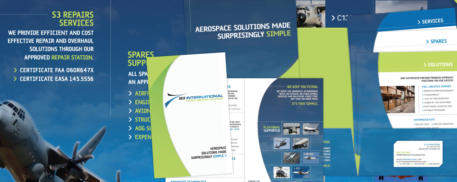 Expo Booth, Folder, Brochure and Sell Sheet Design for S3 International