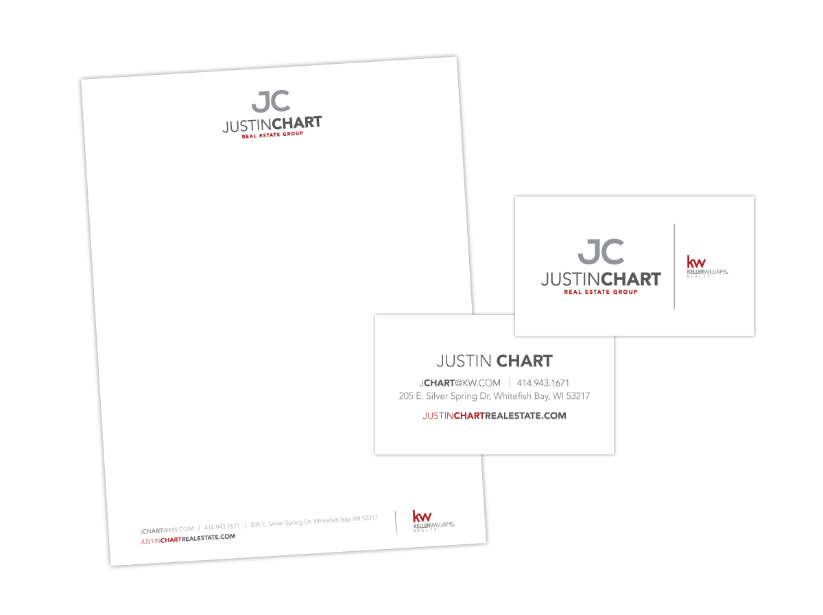 Stationary and Letterhead and Business Card Design For Real Estate Group Justin Chart