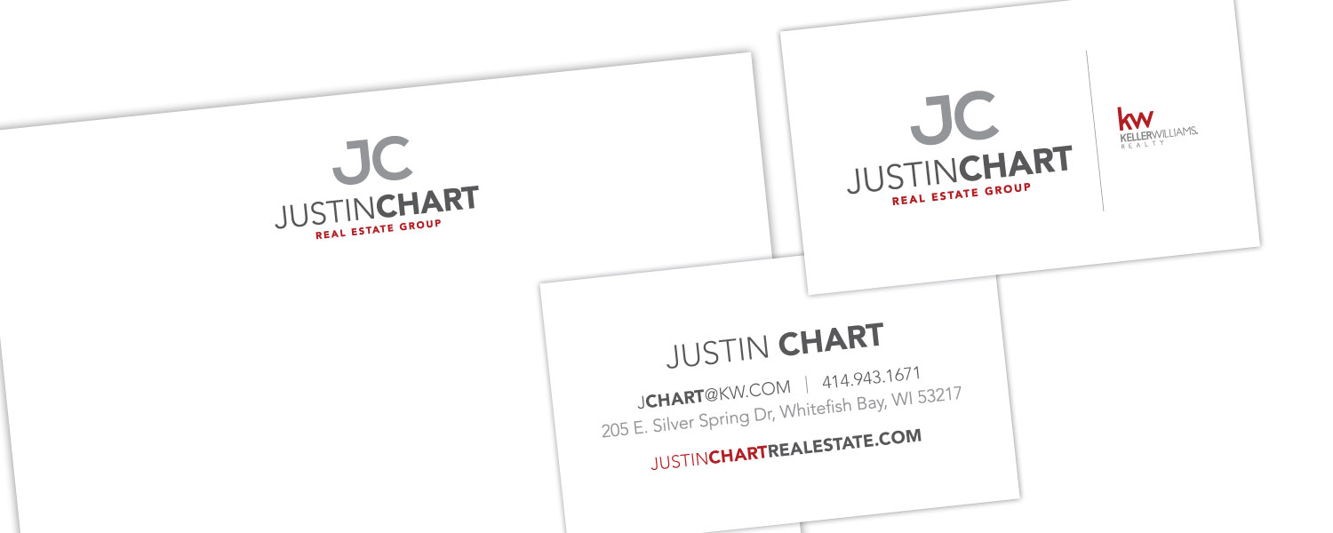 Logo and Stationary Design For Real Estate Group Justin Chart
