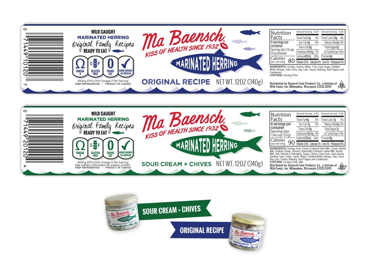Jar Label design for MaBaensch Marinated Herring